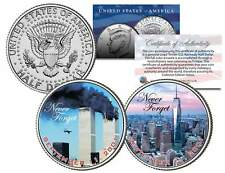 WORLD TRADE CENTER 9/11 WTC Colorized JFK Half Dollar US 2-Coin Set ACTUAL PLANE