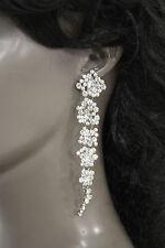 New Women Fashion Flowers Metal Drop Long Earrings Set Rhinestones Silver / Gold