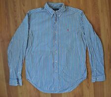 Ralph Lauren Classic Fit Oxford Shirt Men's Medium 100% Cotton Blue Pinstripes