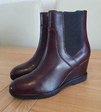 Geox Womens Respira Amphibiox Jilson A Heeled Chelsea Boots Zip Brown Burgundy