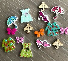 Clothes accessories, dress coat bow umbrella shoes wooden buttons embellishments