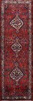 Vintage Geometric Hamedan 10 ft Runner Rug Wool Hand-knotted Oriental 4'x10' RED