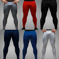 Mens Sports Compression Base Layer Bottoms Under Skin Tights Long Pants Trousers