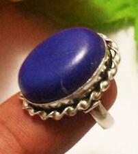 Blue Agate Gemstone Adjustable Ring 925 Sterling Silver Plated U229-A108