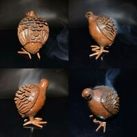 Antique Tea Pet Collectible Pure Solid Copper bird Statue Smoked incense burner