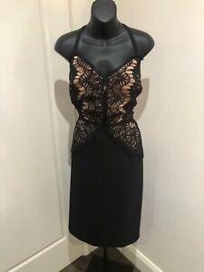 City Chic Lace Vintage Black Rose Gold Midi Cocktail Party Dress XS 14 16