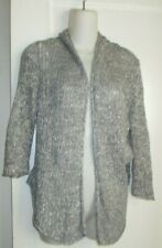 EILEEN FISHER Cardigan Sweater Gray Blue Loose Weave , Open Front, Size S