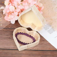 DIY Storage Boxes Heart Shape Wood Box Earrings Ring Jewelry Makeup Organizer FT