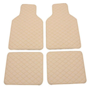 Beige Car Floor Mats Weather Leather Protection Pad Waterproof Universal 4PCS