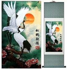 "Home  Decoration Chinese painting cranes with pine treesPrinted painting 12""x40"""