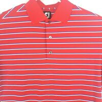 Footjoy FJ Short Sleeve Golf Polo Shirt   Red White Blue Striped Mens Medium