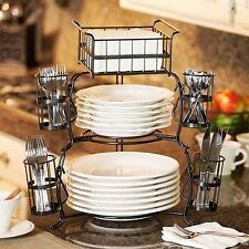 Giftburg 7-Piece Stackable Buffet Caddy Party Spoons Forks Cutlery Holder Server