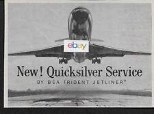 BEA BRITISH EUROPEAN 1965 NEW QUICKSILVER SERVICE LONDON/ PARIS TRIDENT JETS AD