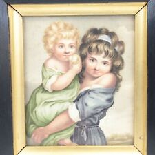 Antique portrait miniature painting watercolour young girls eating an apple