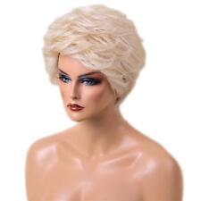 Women Short 100 Real Human Hair Wigs + Cap Heat Resistant Platinum Blonde