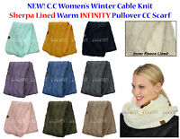 NEW! C.C Women's Winter Cable Knit Sherpa Lined Warm INFINITY Pullover CC Scarf