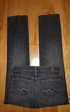 7 For All Mankind Straight Leg NEW YORK Dark Jeans 26x30.5 Stretch FREE GIFT!
