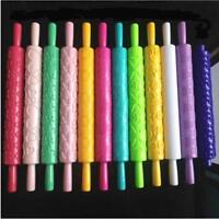 Cake Fondant Mold Rolling Pin Embossing Gum Belan Making Decorating Roller QK