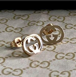 GUCCI Rose Gold GG Interlocking Studs
