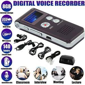 8GB Voice Recorder Mini Spy Digital Sound Audio Dictaphone MP3 Player UK