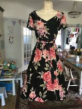 BNWOT Size 12 LAURA ASHLEY Floral Silk Fit & Flare Occasion Dress Tulle Net ~