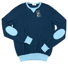 New GRAN SASSO Italy Blue Cotton Elbow Patches Crewneck Sweater 52 L M NWT $324!