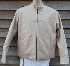 Redskins Ladies Cream Soft Sheep Leather Jacket ~ 12 /14