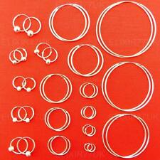 925 STERLING SILVER HOOP SLEEPER EARRINGS 8-50mm SMALL TINY SET LARGE BALL GIRLS
