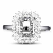 8x6mm Cushion Cut Solid 18K White Gold Natural Diamond Semi Mount Ring Setting
