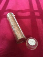 lincoln cents 1974-S- 1 roll au to bu