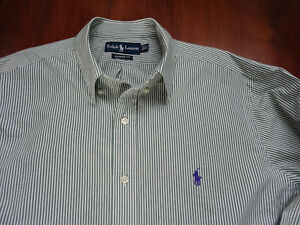Ralph Lauren Men's Green and White Striped 100% Cotton Shirt - Size 16 1/2 XL