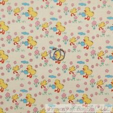 BonEful Fabric FQ Cotton Quilt White Yellow Blue Water Baby Nursery Duck Flower