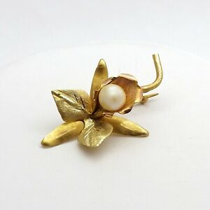 Vintage 18K Rose Yellow Gold Akoya Pearl Orchid Flower Brooch Pendant 3g