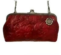Patricia Nash Potenaz Floral Tooled Leather Clutch Shoulder Bag Chain Strap NWT