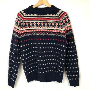 J. Crew Pullover Sweater 100% Lambswool Fair Isle Nordic Men's Size Medium