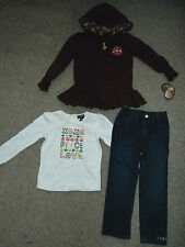 NWT Girls 5 NEW XOXO Hooded Sweat Jacket L/S Shirt & Pants Jeans Outfit Set
