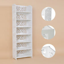 7 Tiers White Chic Hollow Out Shoe Rack Stand Storage Organiser Shelf Durable