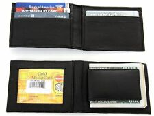 Leather Magnetic Money Clip Slim Credit Card Id Holder Black Men's Wallet