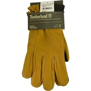 Timberland Mens Nubuck Gloves Wheat Touchscreen Compatible Fleece Lined L New