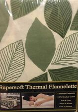 KING SIZE 100% COTTON GREEN LEAF SUPERSOFT THERMAL FLANNELETTE 4 PIECE SHEET SET