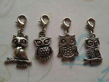 4 Pcs Tibetan Silver Owl clip on Charms