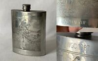 Vintage Intricately Engraved Pewter Hip Flask WGC Hospital Cup 1987 Golf Award