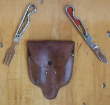 Vintage Schrade Boy Scout Camping Utensil Set Knife Fork w/ Leather Pouch Sheath