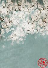 Bleu Blanc Fleur Bébé Toile de Fond Fond Vinyle Photo Prop 5X7FT 150X220CM