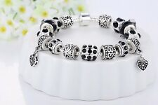 925 Silver Plated Love Charm Bracelet With Black Beads PA1396-21