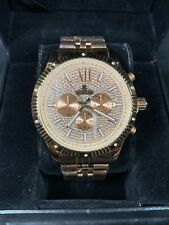 Men's Ice Time Genuine Diamond Watch 45mm Steel Rose Gold Plated Royal