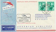 ÖSTERREICH AUA ERSTFLUG 1959 WIEN – AMSTERDAM (Stempel-Nr. 1) K1 WIEN/FLUGHAFEN