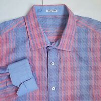 Bugatchi Uomo Pink Blue Shaped Fit Mens XL Button Front Casual Striped Shirt