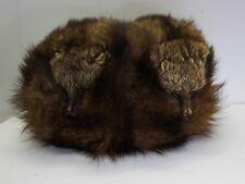 Antique mink fur muff silk lining unusual mink heads glass eyes rare sleigh
