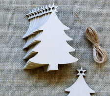 20pcs MDF Wooden Christmas Tree Shape Xmas Hanging Decorations Blanks Craft Gift